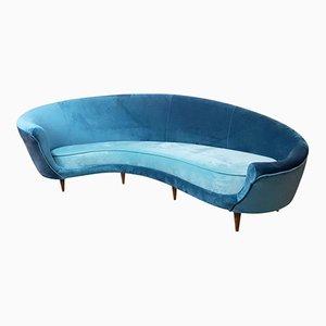 Italian Curved Velvet Sofa, 1950s