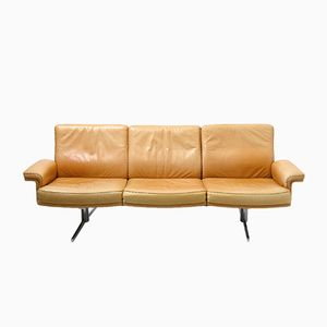 Vintage Swiss Camel Leather 3 Seat Sofa from De Sede
