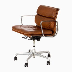 EA 208 Soft Pad Chair in Cognac Leather by Charles & Ray Eames for ICF Cadsana, 1969