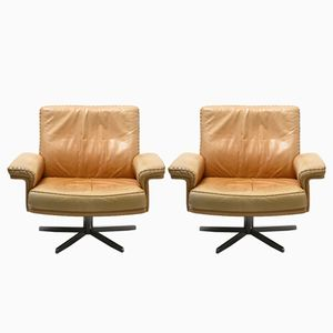 Swiss Camel Leather Armchairs by De Sede, 1960s, Set of 2