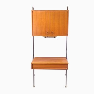 Scandinavian Teak & Metal Wall Unit with Desk by Poul Cadovius, 1950s