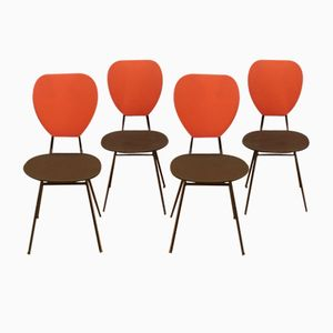 Red & Black Chairs with Compass Feet by Jacques Hitier, 1950s, Set of 4