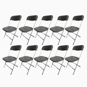 Vintage Industrial Folding Chairs from Samsonite, Set of 10