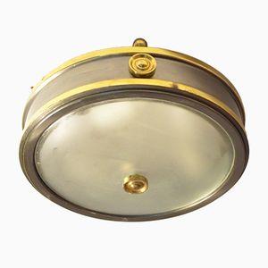 Petite Lampe à Suspension Bicolore en Laiton et Verre, France, 1940s