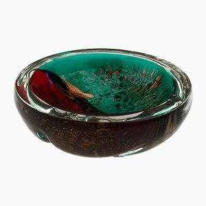 Italienische Mid-Century Murano Glas Schale in Rot und Grün mit Gold Sprenkeln