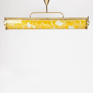 Lampada da soffitto in vetro e ottone, Svezia, anni '40