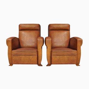 Französische Cognacfarbene Leder Sessel, 1940er, 2er Set