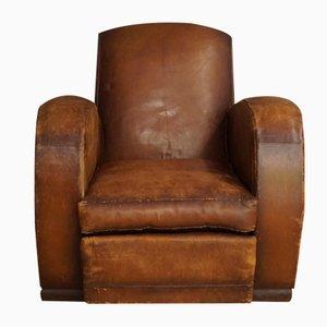Französischer Cognacfarbener Leder Sessel, 1940er