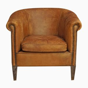 Vintage French Cognac Leather Club Chair