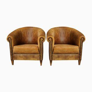 Französische Cognacfarbene Vintage Leder Sessel, 2er Set