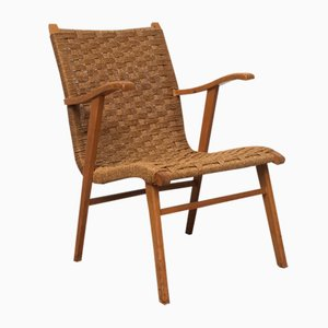 Dutch Rattan & Beech Lounge Chair from V&D, 1960s