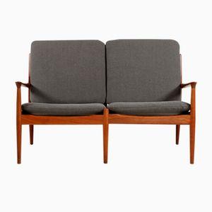 Vintage Zweisitzer Sofa mit Hallingdal Kvadrat Bezug von Grete Jalk für Glostrup