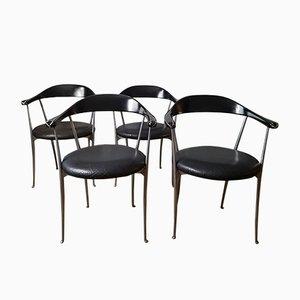 Italienische Vintage 2092 Sessel aus Leder & Aluminium von Enzo Mari für Zanotta, 1980er, 4er Set
