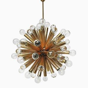 Lampada a sospensione in ottone dorato con sfere Swarovski di Ernst Palme, anni '60