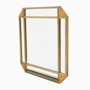 Specchio decorativo in radica, anni '70