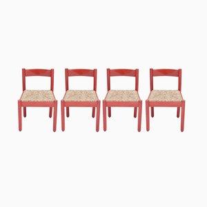 Rote Vintage Carimate Stühle von Vico Magistretti, 4er Set