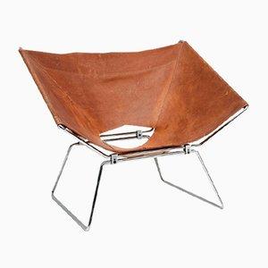 Annau Leder Stuhl von Pierre Paulin für AP Originals, 1954