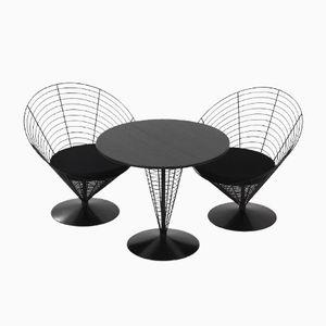 Draht Cone Tisch mit zwei Draht Cone Stühlen von Verner Panton für Fritz Hansen, 1980er