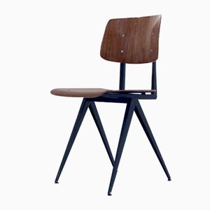 Dutch Industrial S16 Plywood Chair from Galvanitas, 1960s
