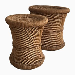 Vintage Rattan Stools, Set of 2