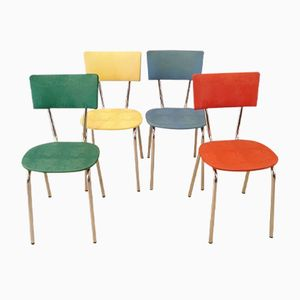 Vintage Multi-Colored Chairs, 1950s, Set of 4