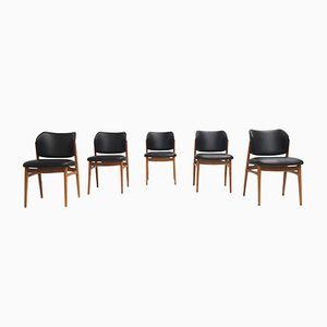 Birke Esszimmerstühle aus Skai, 1950er, 5er Set