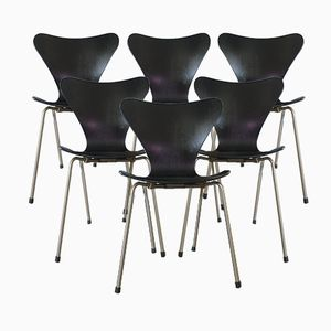 Mid-Century Danish Black Model 3107 Chairs by Arne Jacobsen for Fritz Hansen, Set of 6