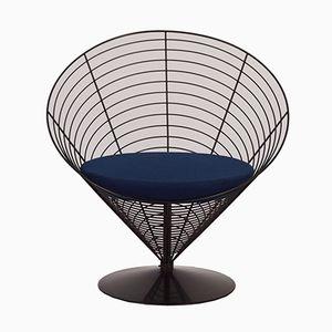 Blauer Cone Chair aus Draht von Verner Panton für Fritz Hansen, 1988