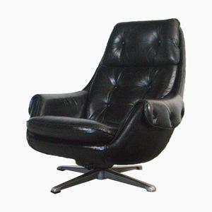 Deutscher Sessel aus Schwarzem Anilinleder, 1970er