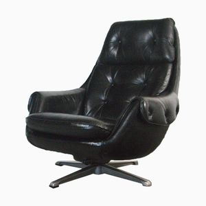 German Lounge Chair in Black Aniline Leather, 1970s