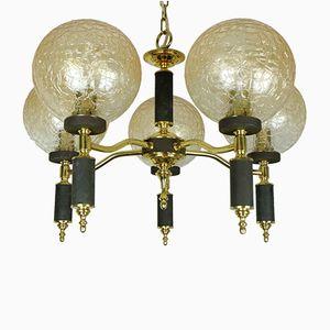 Lampada a sospensione con 5 sfere in vetro ambrato, anni '60
