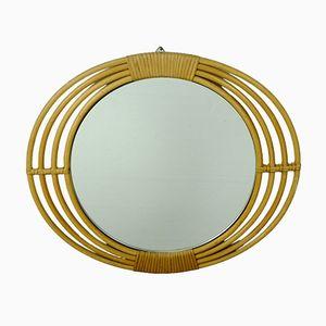 Specchio da parete Mid-Century con cornice ovale in vimini