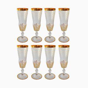 Mundgeblasene Bohème Vintage Champagner Gläser mit Glasrand, 8er Set