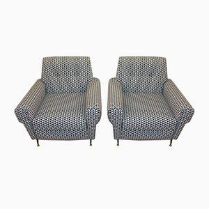 Italian Vintage Armchairs in Geometric Fabric, 1950s, Set of 2