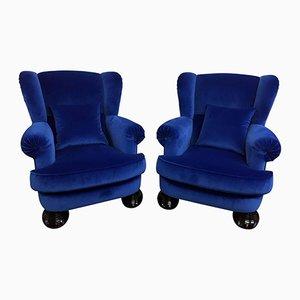 Mid-Century Italian Blue Velvet Armchairs, 1950s, Set of 2