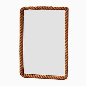 Rechteckiger Vintage Spiegel aus Seil von Audoux et Minet