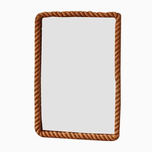 Specchio vintage rettangolare in corda di Audoux et Minet