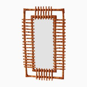 Vintage Spiegel mit Rattan Rahmen