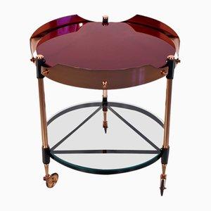 Tavolino vintage in ottone, metallo e vetro, Italia
