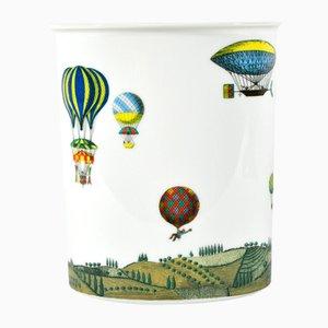 Vaso vintage con mongolfiere di Piero Fornasetti per Rosenthal