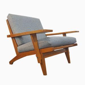GE375 Armlehnstuhl mit Eiche Gestell von Hans J. Wegner für Getama, 1960er