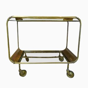 Art Deco French Brass and Glass Bar Cart