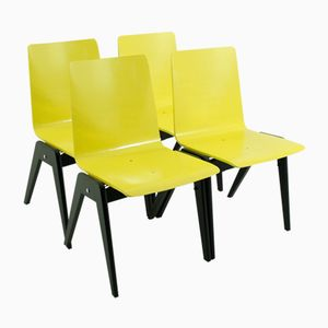 Mid-Century Yellow-Black Beech Stacking Chairs, Set of 4