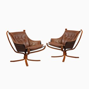 Vintage Norwegian Falcon Armchairs by Sigurd Ressell for Vatne Möbler, Set of 2