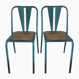 Industrial Mid-Century French Steel Chairs, Set of 2