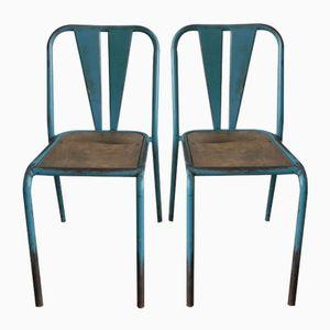 Industrielle Französische Mid-Century Stahl Stühle, 2er Set