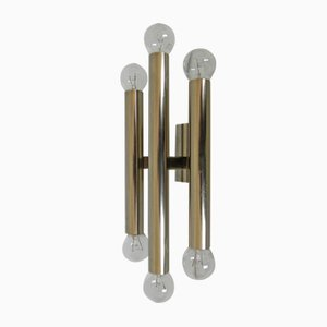Vintage Belgian Wall Lamp with 3 Chromed Tubes