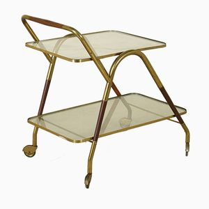 Service Cart in Stained Beech, Brass, and Glass, 1950s