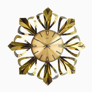 Sunburst Brass Wall Clock from Atlanta, 1960s