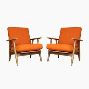 Danish GE-240 Oak Cigar Lounge Chairs by Hans Wegner for Getama, 1955, Set of 2